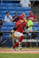 Altoona Curve third baseman Chase Simpson (7) follows through on a swing during a game against the Binghamton Rumble Ponies on May 17, 2017 at NYSEG Stadium in Binghamton, New York.  Altoona defeated Binghamton 8-6.  (Mike Janes/Four Seam Images)