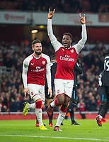 Arsenal's Danny Welbeck celebrating his goal during the Carabao Cup QF match between Arsenal and West Ham United at the Emirates Stadium, London, England on 19 December 2017. Photo by Andrew Aleksiejczuk / PRiME Media Images.