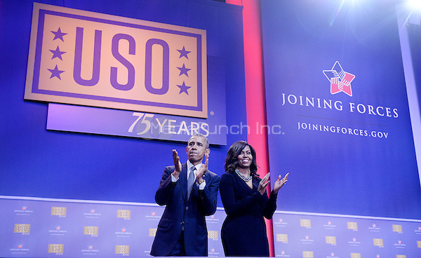 United States President Barack Obama and First Lady Michelle Obama attend the kick off of the 5th anniversary of Joining Forces and the 75th anniversary of the USO at Joint Base Andrews on May 5, 2016 in Maryland. <br /> Credit: Olivier Douliery / Pool via CNP/MediaPunch