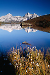 Alp mountains reflected in Riffelsee, Zermatt, Switzerland