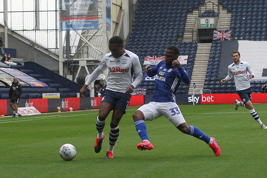 Preston North End's Darnell fisher in action with Cardiff City's Junior Hoilett<br /> <br /> Photographer Mick Walker/CameraSport<br /> <br /> The EFL Sky Bet Championship - Preston North End v Cardiff  City - Saturday 27th June 2020 - Deepdale Stadium - Preston<br /> <br /> World Copyright © 2020 CameraSport. All rights reserved. 43 Linden Ave. Countesthorpe. Leicester. England. LE8 5PG - Tel: +44 (0) 116 277 4147 - admin@camerasport.com - www.camerasport.com