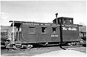 D&amp;RGW long caboose #0540 in Durango.<br /> D&amp;RGW  Durango, CO  Taken by Payne, Andy M. - 4/26/1958