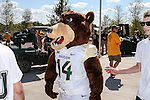 The Baylor Bears mascot in action before the game between the Southern Methodist Mustangs and the Baylor Bears at the McLane Stadium in Waco, Texas.