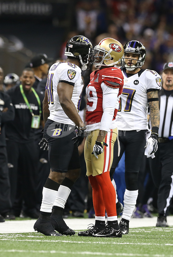 Feb 3, 2013; New Orleans, LA, USA; Baltimore Ravens wide receiver Anquan Boldin (left) head butts San Francisco 49ers defensive back Chris Culliver (29) in the first quarter in Super Bowl XLVII at the Mercedes-Benz Superdome. Mandatory Credit: Mark J. Rebilas-