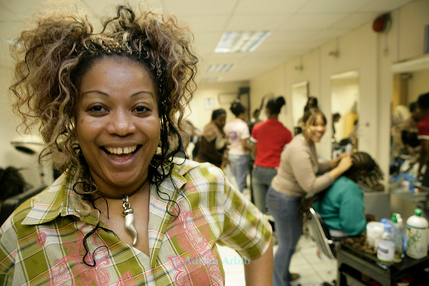 Monica Salawe of 'Hair Secrets' - a  west indian hairdresser and beauty salon  in Queens Market, Upton Park East London, which is being  threatened with redevelopment.
