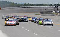 Apr 26, 2009; Talladega, AL, USA; NASCAR Sprint Cup Series drivers Greg Biffle and Juan Pablo Montoya lead the field during the Aarons 499 at Talladega Superspeedway. Mandatory Credit: Mark J. Rebilas-