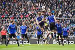 04.11.2018, Sch&uuml;coArena / Schueco Arena, Bielefeld, Deutschland, GER, 2. FBL, DSC Arminia Bielefeld vs. FC St. Pauli<br /> <br /> DFL REGULATIONS PROHIBIT ANY USE OF PHOTOGRAPHS AS IMAGE SEQUENCES AND/OR QUASI-VIDEO.<br /> <br /> im Bild Zweikampf zwischen Sami Allagui (#11 St. Pauli) und Cedric Brunner (#27 Bielefeld) und Fabian Klos (#9 Bielefeld) / Kopfball<br /> <br /> Foto &copy; nordphoto / Kurth