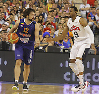 24.07.2012 Barcelona, Spain.  Pre-Olympic friendly game between Spain against USA at Palau St. Jordi. Picture shows Sergio Llul (L) and Andre Iguodala (L)