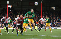 Preston North End's Louis Moult rises highest to meet a corner<br /> <br /> Photographer Rob Newell/CameraSport<br /> <br /> The EFL Sky Bet Championship - Brentford v Preston North End - Sunday 5th May 2019 - Griffin Park - Brentford<br /> <br /> World Copyright © 2019 CameraSport. All rights reserved. 43 Linden Ave. Countesthorpe. Leicester. England. LE8 5PG - Tel: +44 (0) 116 277 4147 - admin@camerasport.com - www.camerasport.com