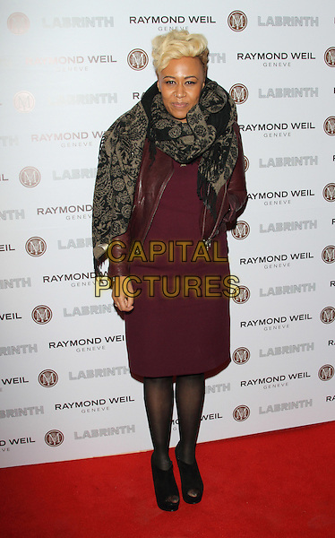 Emeli Sande.Raymond Weil Pre Brits Dinner at Mozaica, Wood Green, London, England..January 26th 2012.full length maroon burgundy purple dress leather jacket black beige print pattern scarf wrap hand on hip.CAP/ROS.©Steve Ross/Capital Pictures