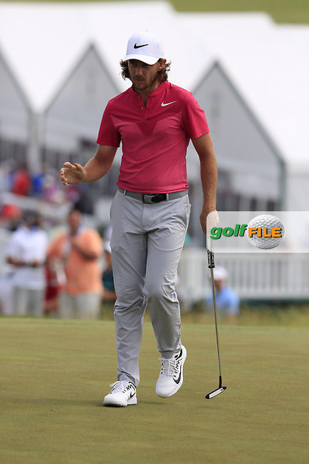 Tommy Fleetwood (ENG) sinks his birdie putt on the 8th green during Saturday's Round 3 of the 117th U.S. Open Championship 2017 held at Erin Hills, Erin, Wisconsin, USA. 17th June 2017.<br /> Picture: Eoin Clarke | Golffile<br /> <br /> <br /> All photos usage must carry mandatory copyright credit (&copy; Golffile | Eoin Clarke)
