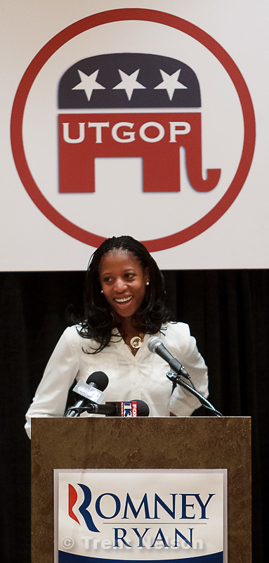 Trent Nelson  |  The Salt Lake Tribune.Utah Congressional candidate Mia Love speaks at the Utah delegation's breakfast at the Hilton Hotel on the morning of the first day of the Republican National Convention in Tampa, Florida, Tuesday, August 28, 2012.
