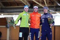 SPEEDSKATING: BERLIN: Sportforum Berlin, 28-01-2017, ISU World Cup, Podium 1000m B Division, Hubert Hirschbichler (GER), Ronald Mulder (NED), Kimani Griffin (USA), ©photo Martin de Jong