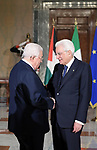 Palestinian President Mahmoud Abbas meets with Italian President Sergio Mattarella, in Rome, Italy on December 3, 2018. Photo by Thaer Ganaim