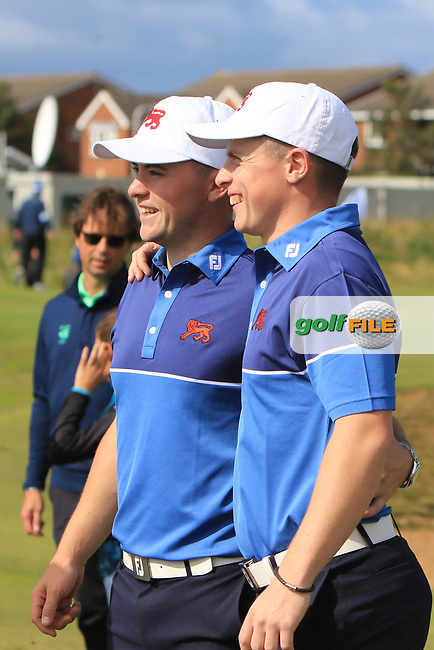 Alex Fitzpatrick (GB&I) and Conor Purcell (GB&I) on the 17th after winning their opening match during the Foursomes at the Walker Cup, Royal Liverpool Golf CLub, Hoylake, Cheshire, England. 07/09/2019.<br /> Picture Thos Caffrey / Golffile.ie<br /> <br /> All photo usage must carry mandatory copyright credit (© Golffile | Thos Caffrey)