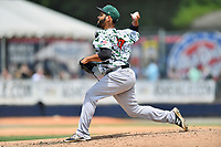 Augusta GreenJackets pitcher Jose Morel (47) delivers a pitch during a game against the Asheville Tourists at McCormick Field on July 16, 2017 in Asheville, North Carolina. The GreenJackets defeated the Tourists 10-9. (Tony Farlow/Four Seam Images)