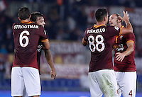 Calcio, Serie A: Roma vs ChievoVerona. Roma, stadio Olimpico, 31 ottobre 2013.<br /> From left, AS Roma players Kevin Strootman, Federico Balzaretti, Marco Borriello and Federico Balzaretti celebrate at the end of the Italian Serie A football match between AS Roma and ChievoVerona at Rome's Olympic stadium, 31 October 2013. AS Roma won 1-0.<br /> UPDATE IMAGES PRESS/Isabella Bonotto