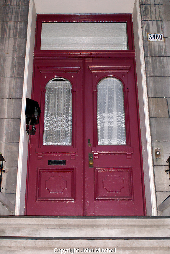 Colorful doorway of an old french house in Montreal, Quebec, Canada