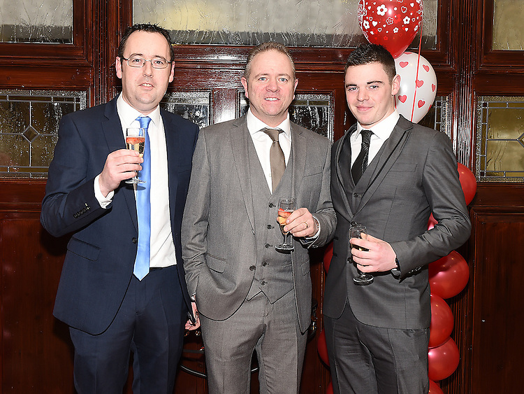 Francis Neacey, Sean and Darren Butterly pictured at the Valentine Ball in the Grove House Dunleer. Photo:Colin Bell/pressphotos.ie
