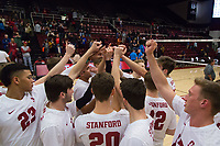 STANFORD, CA - January 5, 2019: Jaylen Jasper, Cole Paullin, Jordan Ewert, Eli Wopat at Maples Pavilion. The Stanford Cardinal defeated UC Santa Cruz 25-11, 25-17, 25-15.