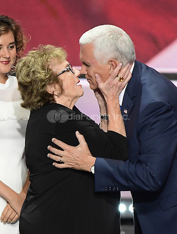 Governor Mike Pence (Republican of Indiana), the GOP nominee for Vice President of the United States and his mother Nancy Pence-Fritsch after he delivered his acceptance speech at the 2016 Republican National Convention held at the Quicken Loans Arena in Cleveland, Ohio on Wednesday, July 20, 2016.<br /> Credit: Ron Sachs / CNP/MediaPunch<br /> <br /> <br /> (RESTRICTION: NO New York or New Jersey Newspapers or newspapers within a 75 mile radius of New York City)