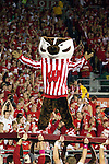 Wisconsin Badgers mascot Bucky Badger celebrates during an NCAA college football game against the Ohio State Buckeyes on October 16, 2010 at Camp Randall Stadium in Madison, Wisconsin. The Badgers beat the Buckeyes 31-18. (Photo by David Stluka)