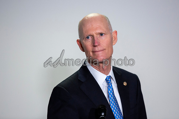 United States Senator Rick Scott (Republican of Florida) speaks to members of the media as he walks to the Senate GOP Policy Luncheons at the Hart Senate Office Building  in Washington D.C., U.S., on Wednesday, May 20, 2020.  Credit: Stefani Reynolds / CNP/AdMedia