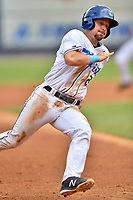 Asheville Tourists Max George (22) rounds third base during a game against the Lakewood BlueClaws at McCormick Field on August 4, 2019 in Asheville, North Carolina. The Tourists defeated the BlueClaws 13-6. (Tony Farlow/Four Seam Images)