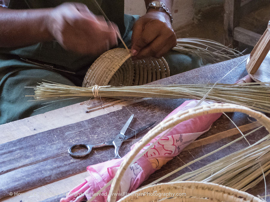 Other finishing steps in handmade baskets in Trinidad
