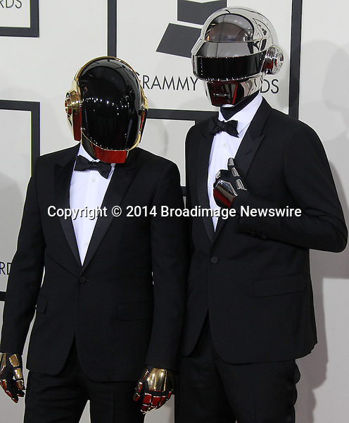 Pictured: Daft Punk<br /> Mandatory Credit &copy; Frederick Taylor/Broadimage<br /> 56th Annual Grammy Awards - Red Carpet<br /> <br /> 1/26/14, Los Angeles, California, United States of America<br /> <br /> Broadimage Newswire<br /> Los Angeles 1+  (310) 301-1027<br /> New York      1+  (646) 827-9134<br /> sales@broadimage.com<br /> http://www.broadimage.com