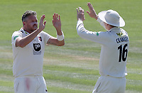 Mitchell Claydon of Kent (left) celebrates taking the wicket of Simon harmer during Kent CCC vs Essex CCC, Specsavers County Championship Division 1 Cricket at the St Lawrence Ground on 20th August 2019