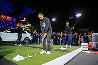 Xander Schauffele (USA) and Thomas Pieters (BEL) at the Porsche Urban Golf Challenge in the Reeperbahn the famous Red light district in Hamburg ahead of the Porsche European Open at Green Eagles Golf Club, Luhdorf, Winsen, Germany. 03/09/2019.<br /> Picture Fran Caffrey / Golffile.ie<br /> <br /> All photo usage must carry mandatory copyright credit (© Golffile | Fran Caffrey)