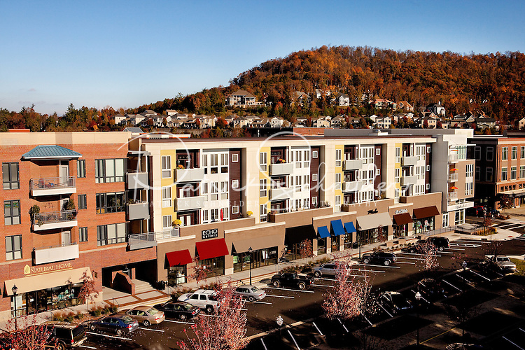 Residential offerings at Asheville NC's Biltmore Park Town Square, a planned community of residential living, office spaces and shopping. The 42-acre project, built by Crosland LLC and Biltmore Farms LLC, include condos, townhomes and apartments in a mountain setting.