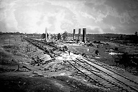 Destruction of Hood's Ordnance Train.  Near Atlanta, 1864.  George N. Barnard. (War  Dept.)<br /> Exact Date Shot Unknown<br /> NARA FILE #: 165-SC-44<br /> WAR & CONFLICT BOOK #:  240