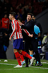 Alvaro Morata (L) and Diego Pablo Simeone coach (R) of Atletico de Madrid celebrate goal during the UEFA Europa League match between Atletico de Madrid and Bayer 04 Leverkusen at Wanda Metropolitano Stadium in Madrid, Spain. October 22, 2019. (ALTERPHOTOS/A. Perez Meca)
