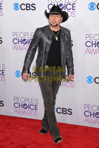 Jason Aldean .People's Choice Awards 2013 - Arrivals held at Nokia Theatre L.A. Live, Los Angeles, California, USA..January 9th, 2013.full length jean denim black goatee facial hair  top grey gray leather jacket cowboy hat      .CAP/ADM/BP.©Byron Purvis/AdMedia/Capital Pictures.