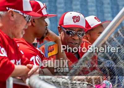8 July 2017: Washington Nationals Manager Dusty Baker watches batting practice with his coaches prior to a game against the Atlanta Braves at Nationals Park in Washington, DC. The Braves shut out the Nationals 13-0 to take the third game of their 4-game series. Mandatory Credit: Ed Wolfstein Photo *** RAW (NEF) Image File Available ***