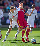 Los Angeles FC defender Dejan Jakovic (5) takes down Real Salt Lake midfielder Damir Kreilach (6) as they vie for the ball in the first half Saturday, March 10, 2018, during the Major League Soccer game at Rio Tiinto Stadium in Sandy, Utah. LAFC beat RSL 5-1. (© 2018 Douglas C. Pizac)