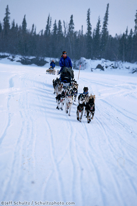 Ellie Claus on Kuskokwim River Near Nikolai.2004 Iditarod Alaska