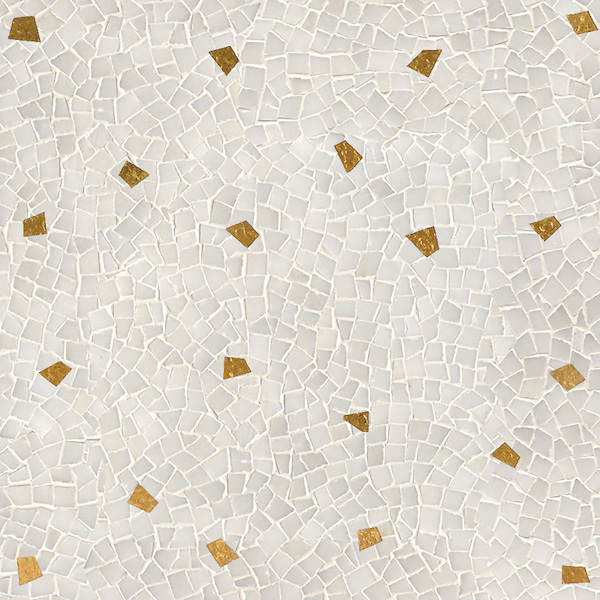 Cosmos, a hand-cut stone and glass mosaic, shown in polished Afyon White with 24K Gold Glass, is part of the Aurora™ Collection by Sara Baldwin for New Ravenna.
