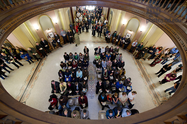 January 16, 2012; Guest, faculty and staff gather for a ceremony in the Main Building in observance of the Martin Luther King, Jr. Day holiday. Photo by Barbara Johnston/University of Notre Dame