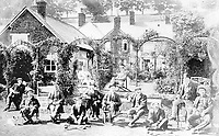 BNPS.co.uk (01202 558833)<br /> Pic: ShaftesburyHistoricalSociety/BNPS<br /> <br /> Pictured: A 1902 garden party pictured of men taking a break from playing croquet. The builidng is now a pub called the, 'Ye Olde Two Brewers Inn'.  <br /> <br /> These charming photos reveal everyday life at the turn of the 20th century in a thriving market town later made famous by a TV advert.<br /> <br /> The black and white snapshots of Shaftesbury, Dorset, were taken by Albert Tyler who set up a photography business there in 1901.<br /> <br /> There are various street scenes and also images of the locals in traditional attire, with men in flatcaps and women in bonnets.<br /> <br /> Tyler photographed the busy opening of the town market in 1902, and a garden party where men played croquet.