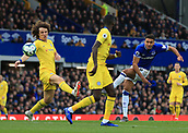 17th March 2019, Goodison Park, Liverpool, England; EPL Premier League Football, Everton versus Chelsea; David Luiz of Chelsea attempts to block as Dominic Calvert-Lewin of Everton shots at goal