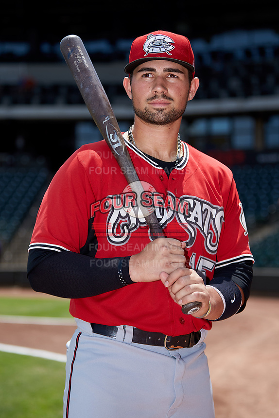Payton Henry (15) of the Carolina Mudcats poses for a photo prior to the game against the Winston-Salem Dash at BB&T Ballpark on August 4, 2019 in Winston-Salem, North Carolina. The Dash defeated the Mudcats 7-5. (Brian Westerholt/Four Seam Images)