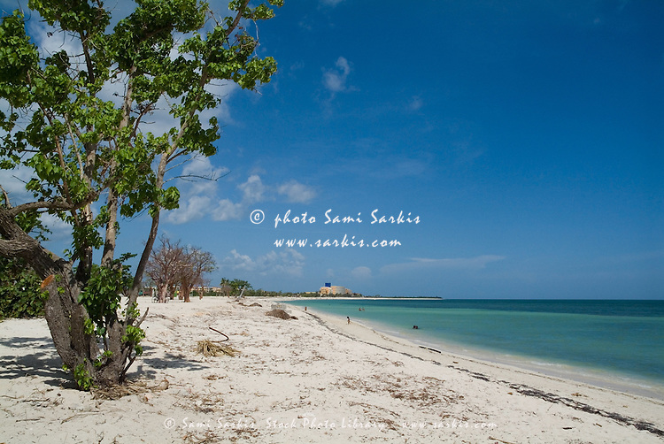 White sand beach and beautiful waters at Playa Ancon, near Trinidad, Cuba.