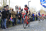 Daniel Oss (ITA) BMC Racing Team climbs Oude Kwaremont during the 60th edition of the Record Bank E3 Harelbeke 2017, Flanders, Belgium. 24th March 2017.<br /> Picture: Eoin Clarke | Cyclefile<br /> <br /> <br /> All photos usage must carry mandatory copyright credit (&copy; Cyclefile | Eoin Clarke)