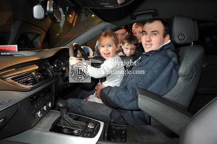 John, Sean and Amy O'Connor, with Pamela Kinahan and Jordan Barry from Castleisland check out the Audi A7 Sportsback at the Audi roadshow in the INEC, KIllarney on Sunday..Picture by Don MacMonagle...pr photo from Audi