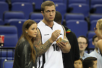 Danny Osbourne Star of Splash and TOWIE and Jacqueline Jossa Eastenders Actress during Hoops Aid 2015 Celebrity AllStars Basketball Match at the o2 Arena, London, England on 10 May 2015. Photo by Andy Rowland.