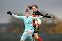 20171125 - TUBIZE , BELGIUM : Belgian Silke Vanwynsberghe (r) pictured in a duel during the friendly female soccer game between the Belgian Red Flames and Russia , Saturday 25 th November 2017 at the Belgian FA Euro 2000 Center in Tubize , Belgium. PHOTO SPORTPIX.BE | DAVID CATRY