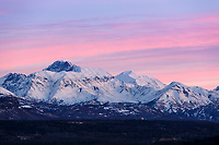 Winter landscape of sunrise dawn over the Matanuska River with Chugach & Talkeetna Mountains in the Matanuska River Valley near Palmer, Alaska in Southcentral, Alaska   January 2016